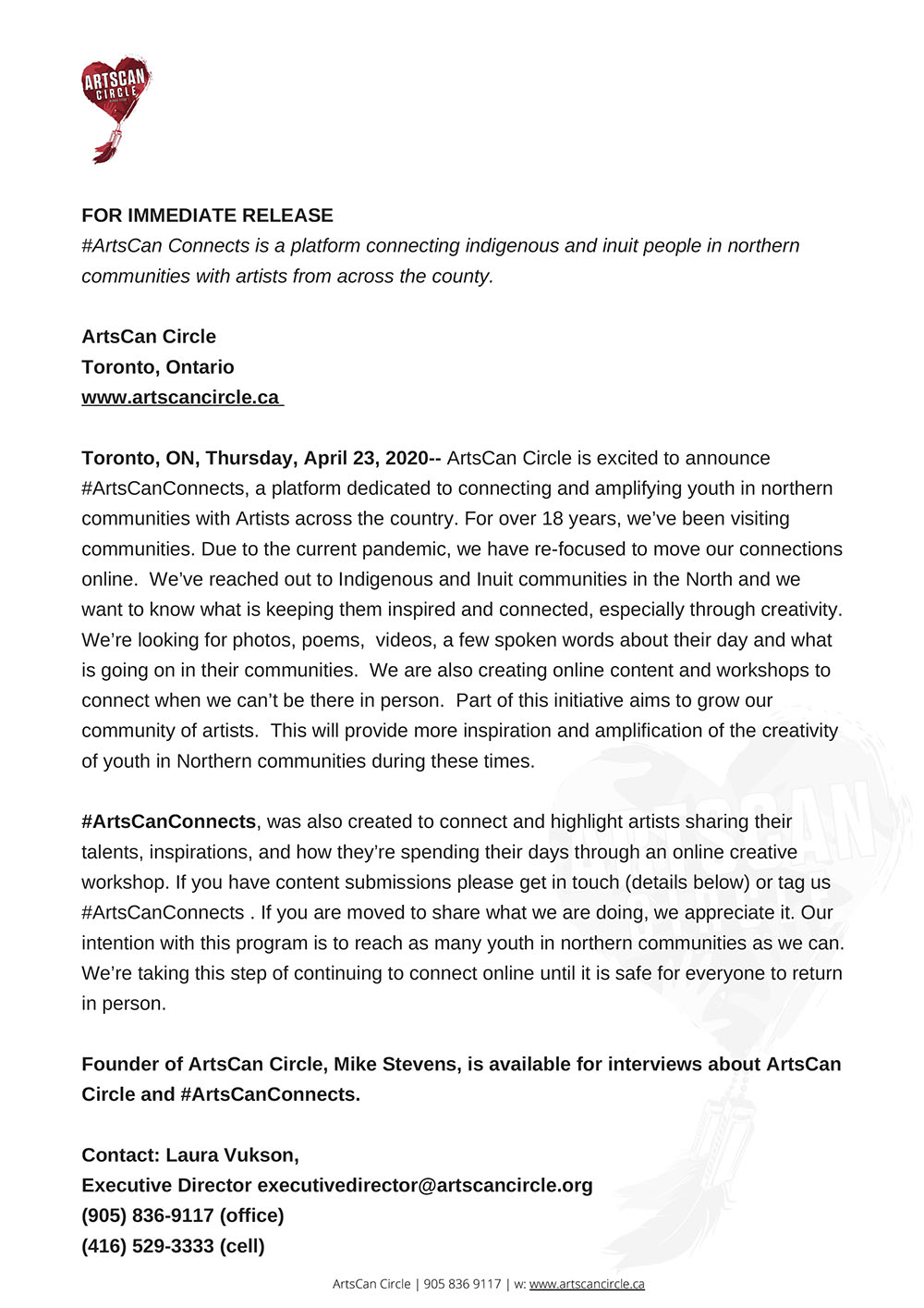 Press Release from Artscan Circle