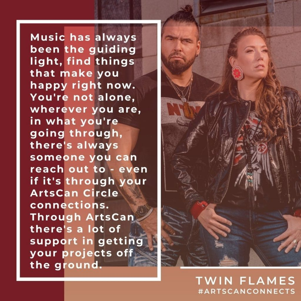 """You're not alone, wherever you are, in whatever you're going through, there's always someone you can reach out to.""""  Artist Spotlight: @twinflamesband  #ArtsCanCircle #ArtsCanConnects #community #sharedspace #connectwithus #TwinFlames #musicheals #youth"""