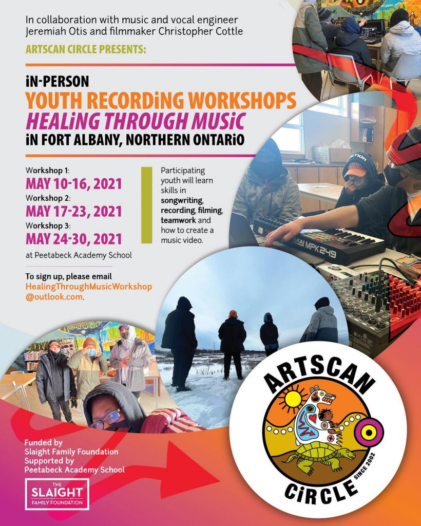 Hi ya Fort Albany youth, are you interested in learning how to create music videos?   ArtsCan Circle and 67 Records are super happy to announce a recording / filming workshop series in Fort Albany in May. We've got three free workshops planned (7 classes per workshop). To sign up get in touch with @jotis16 @cottlechristopher @67recordslabel (details on poster).   Sponsored by @slaightmusic  Supported by Fort Abany First Nation & @maaiinganproductions   #artscancircle #67records #fortalbany #indigenousyouth #musicvideos #creativity #inspiration #connection