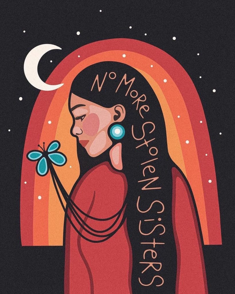 """""""Today, May 5th, is National Day of Awareness for Missing and Murdered Indigenous Women, Girls and 2Spirit people.  """"Indigenous women and girls are five times more likely to experience violence than any other population in Canada and this violence tends to result in more serious harm.""""  #MMIW is real and devastating. The women, girls and 2Spirit people in our communities are sacred and deserving of love and safety. Protect our sisters. ✊🏽""""   A repost by @aptn_ca Caption and artwork by @morning.star.designs"""
