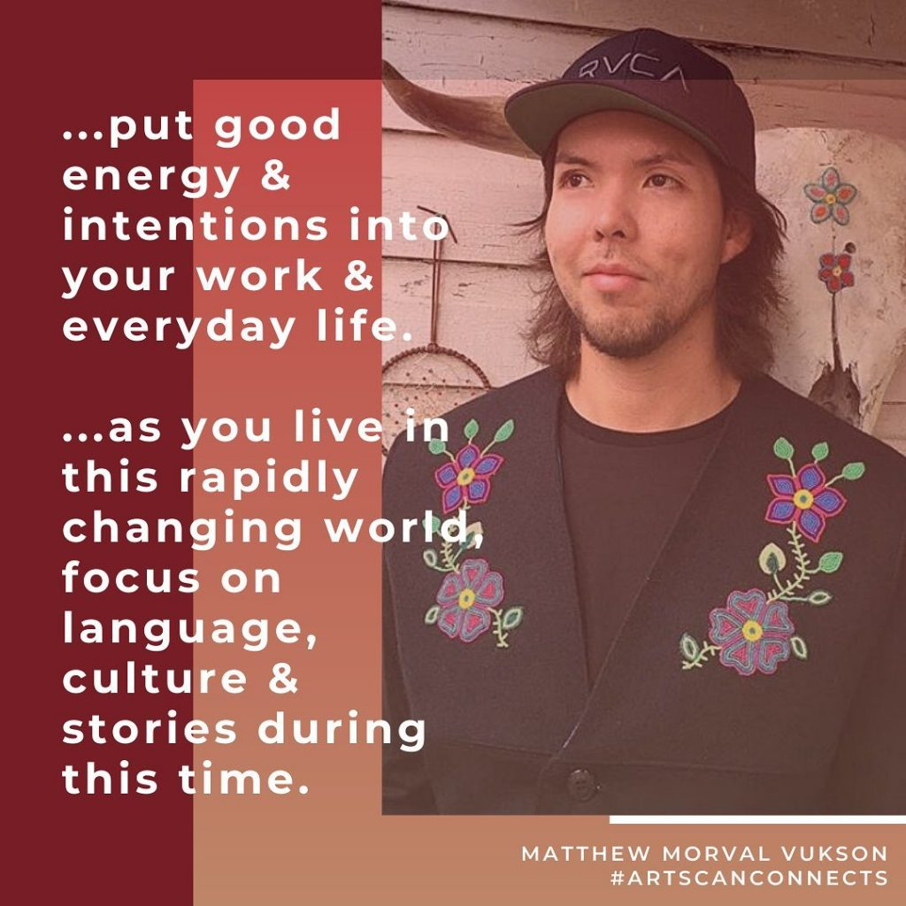 """Every young person has an important story to share!   Matthew Morval Vukson encourages you to """"focus on language, culture & stories"""".  #ArtsCanCircle #youth #focusonstories #goodenergy #goodintentions #connecting #inspriring #7thfirebeaddesigns  #ArtsCanConnects"""