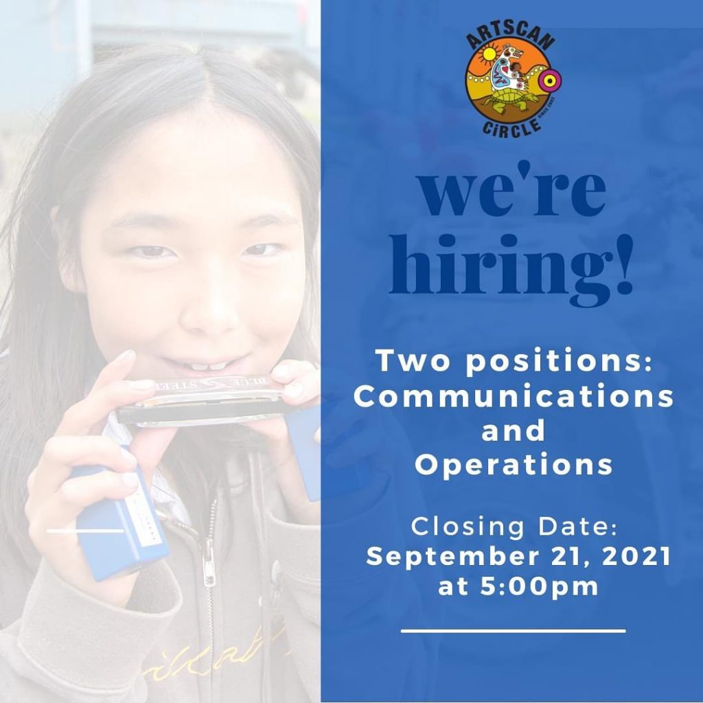 We're hiring! Two new positions: Communications (f/t) and Operations (p/t).   Work can be done remotely from home. Click link in bio to learn more.   #artscancircle #indigenousyouth #jobalert #communicationskills #operationsjobs #ontariojobs #torontojobs